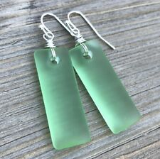 Min Favorit Peridot Green Sea Glass Rectangle Drop & Silver Pl Artisan Earrings