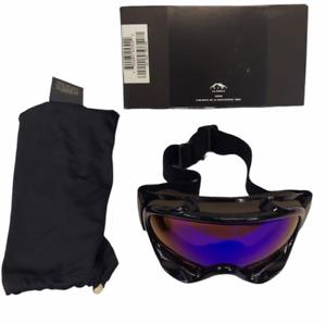 Vintage 1998 Oakley Ski Snowboard Motocross Goggles Jet Black with Blue Lens