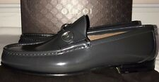 Mens Gucci Gray Brushed Leather Horsebit Loafer Shoes Size 12