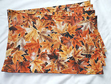 Autumn Fall Brown Orange Frosted Leaves Set of 4 Placemats