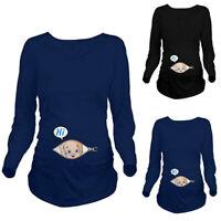 Women Maternity Cute Cartoon Long Sleeve Top Tee Shirt Pregnancy Blouse Pullover