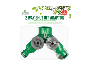 2 Way Shut Off Adaptor - Connect 2 Garden Hose To One Tap - Hlaf Inch