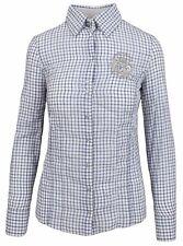 L' ARGENTINA Damen Bluse Shirt Langarm Größe 38 M Baumwolle & Leinen Kariert NEU