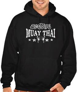 Men's Muay Thai Stars Black Hoodie Sweater MMA Fighting Martial Arts Choke BJJ