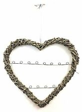 Large Willow Open Heart Card Photo Holder Rustic Shabby Picture Frame Gift