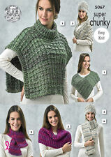 King Cole Ladies Super Chunky Knitting Pattern Easy Knit Hat Scarf Tabbard 5067