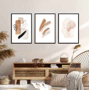 Brown Boho Set of 3 Prints A3 Poster Modern Bedroom Living Room Beige Wall Art