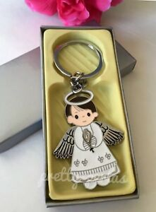 12 Baptism Boy Angel Party Favors Keepsakes Keychains Recuerdos de Bautizo nino