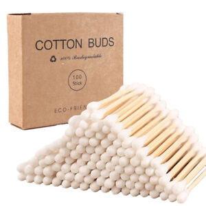 Bamboo Wooden Cotton Buds 100% Natural Eco Friendly Biodegradable Makeup Earbuds