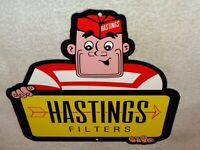 "VINTAGE ""HASTINGS PISTON RINGS & FILTERS MAN 12"" METAL CAR, GASOLINE & OIL SIGN!"