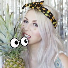 Black with Yellow Pineapple print Wire Headband - Fruit - Tropical