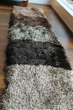 Exclusiver Langflor Glanz Shaggy Läufer Bettumrandung Brücke Teppich Fußmatte