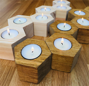Wooden Tea Light Candle Holders - Geometric Solid Rustic Wood - *Free Tealights*