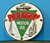 VINTAGE PARAGON GASOLINE PORCELAIN GAS SERVICE STATION REFINERY PUMP PLATE SIGN