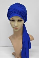 Turban with long ties, volume turban hat, tichel, head snood, viscose jersey hat
