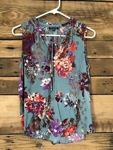 Womens Pink Clover Sleeveless Floral Blouse W Tie Neck Multicolor Sz S