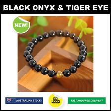 Gemstone Bracelet Black Onyx Agate & Tiger Eye Chakra Beads Elastic Bangle Gift