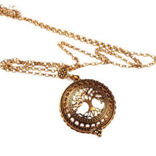Vintage Gold Magnifying Glass Reading Tree of Life Pendant Chain Necklace