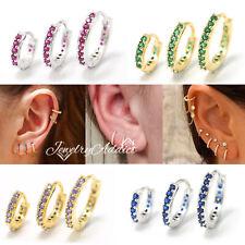 Rainbow Gem Petite Diamonds 9K GOLD GP EAR CARTILAGE RING PIERCING HOOP EARRINGS