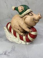 Stone Bunny Inc Piggy Sleigh Statue Christmas Candy Cane Holiday