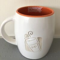 Dunkin Donuts Coffee Cup Mug 14 Oz White Orange Inside 2012