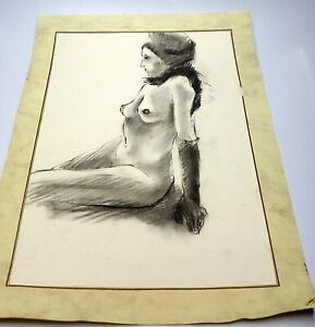 Vintage Charcoal hand drawing nude woman portrait.