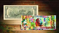 VINTAGE CARTOONS Spiderman Daffy Duck Flintstones Genuine $2 Bill Rency SIGNED