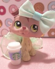 Littlest Pet Shop # 1723 Plum Mauve Cream Collie Dog Green Eyes Authentic