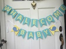 Preppy Whalecome Whale Baby Shower Banner Handmade