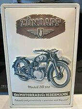 ZUNDAPP MOTORCYCLES model DB200 :EMBOSSED(3D) METAL ADVERTISING SIGN 30x20cm