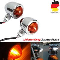 2x Universal Motorrad Bullet Blinker Indikator Licht Chrom Für Harley Scooter