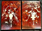 Two Antique Japanese Meiji Period Lacquered Shibayama Wall Panels c 1890
