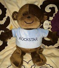 "Carters Kidsline Rockstar nursery Brown stuffed plush Monkey Blue T shirt 15"""