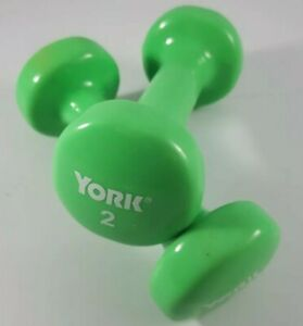 2lb YORK Hand Weights Dumbbell Set Exercise GREEN Hex Dumbell (4lbs total)