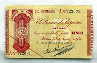 Spain-GUERRA CIVIL. Billete. 5 pesetas 1936. Bilbao. EBC-/XF-. Serie A. Escaso