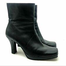 Nine & Co Mid Calf Black Leather Zipper Heels Boot side zip  square toe size 10