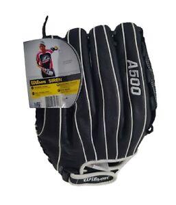 "Wilson Siren 12.5"" Leather Softball Glove Right Hand Throw, Black/White"