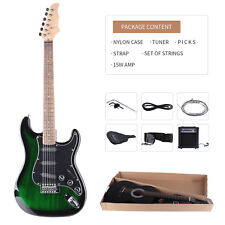 "Beginner Lagrima 39"" Crescent Electric Guitar 15w AMP Strap Cord Gigbag  Green"