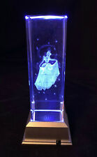 large FROZEN ELSA - 3D Laser Etched Crystal Block With 4 Led Light Base