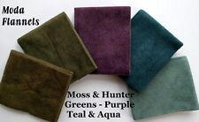 Greens Teal FLANNEL Fat Quarter Bundle Moda Fabric + Bonus 2 Quilt Patterns