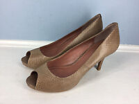 Vince Camuto Anthropologie Brown Leather Snake Skin EUC Peep Toe Heel 8.5 Career