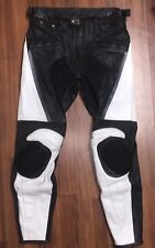Leather Mesh Motorcycle Riding Pants w/knee guards hip guards Black White Size 4