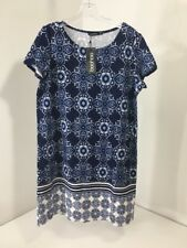 bd38b4f7e87f BOOHOO WOMEN'S ELLA PRINT BORDER PAISLEY SHIFT DRESS NAVY/WHITE UK16/US12  NWT