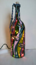 Dragonflies Inspiered Bottle Lamp Stained Glass Look Hand Painted Lighted
