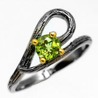 Natural Peridot 925 Sterling Silver Ring / RVS222 Natürlicher Peridot Природный