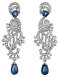 925 Sterling Silver Blue Pave White Emerald & Round-cut Chandelier Earrings