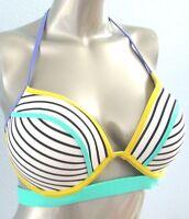 Nwt Victorias Secret The Hottie Halter Push Up Banded Contrast Stripe Bikini Top