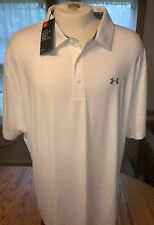 NWT Men's Under Armour Playoff Golf Polo Shirt Loose Fit White Size: 4XL