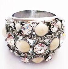 USA RING Rhinestone Crystal Fashion Gemstone Silver SIZE-7 WHITE CREAM Bling