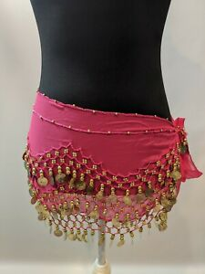 Belly Dance bellydance hipscarf coin scarf hot pink chiffon with gold coins